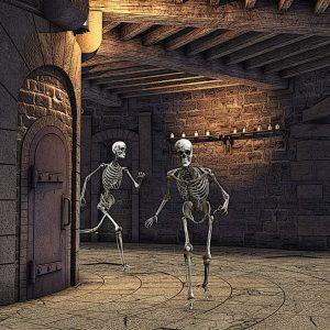 Dungeon mit Skeletten